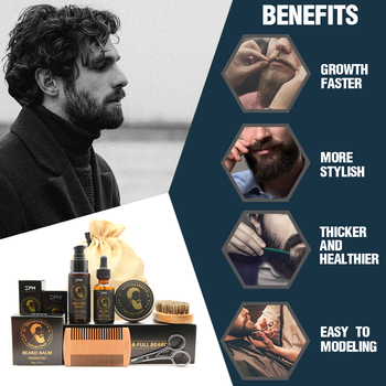 100% Pure Natural Profession Men Beard Care Kit 7Pcs/set Leave-in Conditioner Moisturizing Beard Growth Oil Grooming Health Gift 1