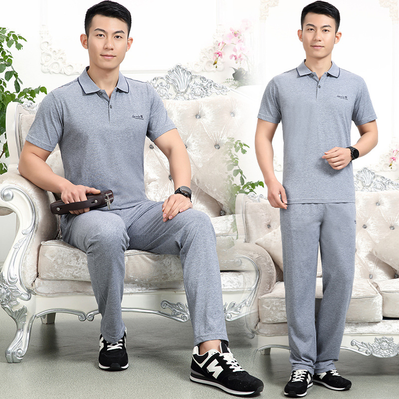 Middle-aged Short Sleeve Shorts Sports Set Father's Day Send Dad Sports Casual Wear Summer Running