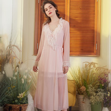 Wasteheart Spring Green Pink Women Fashion Sleepwear Nightwear Long Sexy Robes Cotton Woven Female Bathrobe XL Perspective