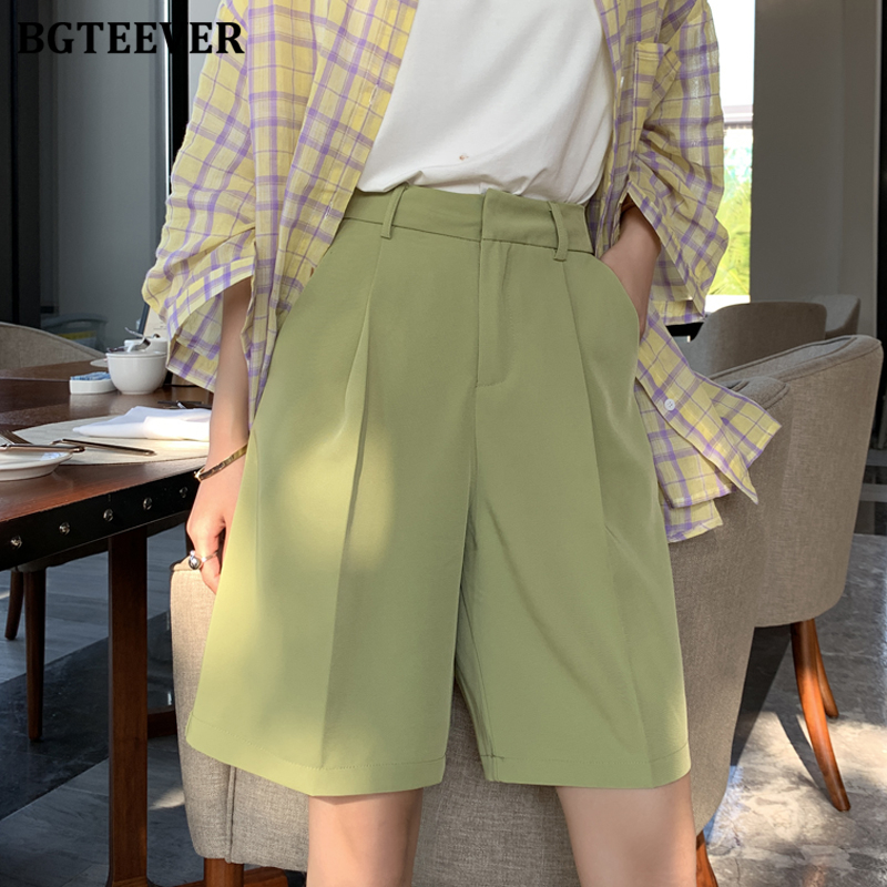 BGTEEVER Fashion High Waist Women Shorts Casual Half- Length Sashes Belted Women Loose Shorts Pockets 2020 Spring Summer
