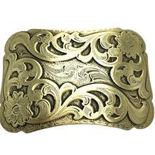Pure Copper Vintage Antique Belt Buckle Wave & Flowers Western Cowboy