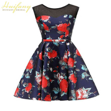 New Red Rose Print A-Line Cocktail Suit Scoop Illusion Graduation Party Dress Knee Length Backless Lace-up Short Formal Gown