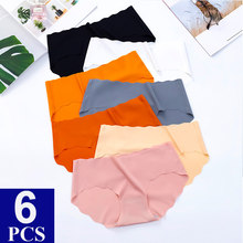 6PCS/Lot Seamless Panties Low Waist Underwear Women Ice Silk Solid Tangas Women Sexy Thongs G-string Briefs For Ladies Dropship