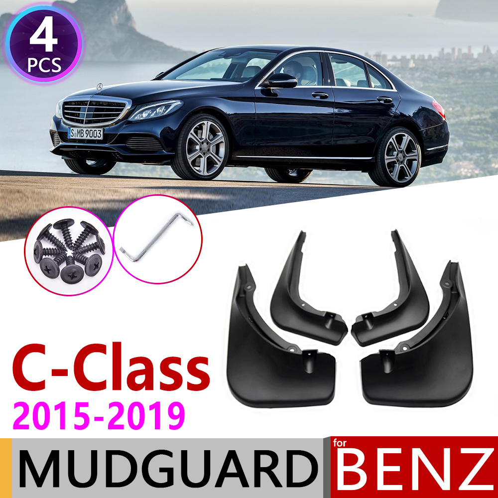 Mudflap for Mercedes Benz C Class <font><b>W205</b></font> 2015~2019 Fender Mud Guard Splash Flap Mudguard Accessories 2016 2017 2018 C180 C250 <font><b>C300</b></font> image