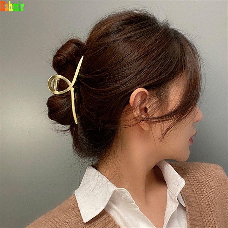 Крупная крупная матовая металлическая заколка для волос kshмир 2020, заколка для волос в европейском и американском стиле, женский зажим для во...