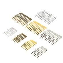 10pcs 5/10 dentes de metal pente de cabelo garra grampos de cabelo (níquel / ouro / bronze) para joias de casamento faça você mesmo componentes componentes pente DIY