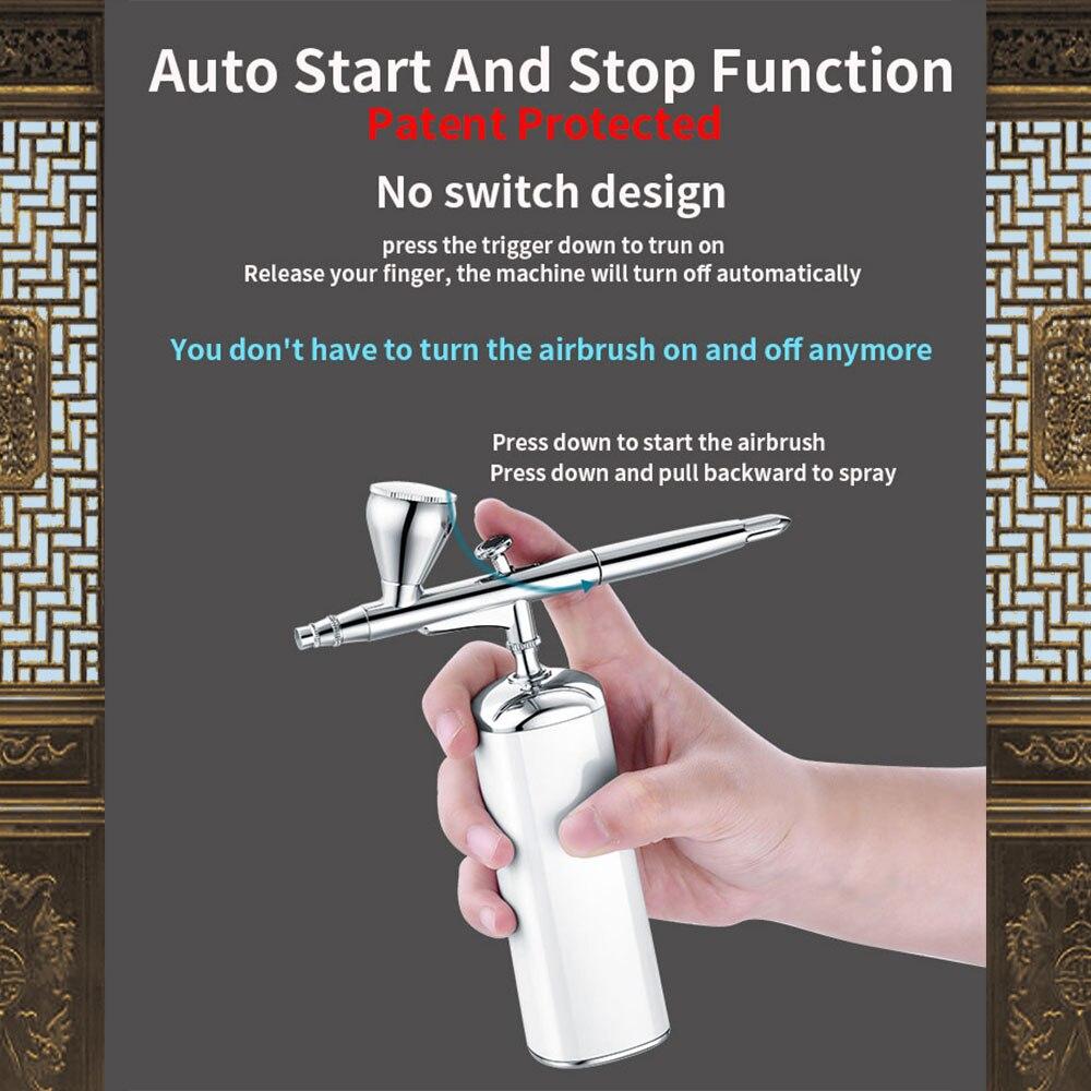 Tools : Cordless Portable Airbrush Compressor Kit Air Brush Mini Cheap Wireless Electric Makeup Pen Gun Set Equipment Machine Pump