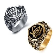 Anillo de Ojo de Horus egipcio para hombre, anillo de símbolo de texto Ankh con Cruz de la vida, joyería Vintage para hombre, talla de EE. UU. 6-14