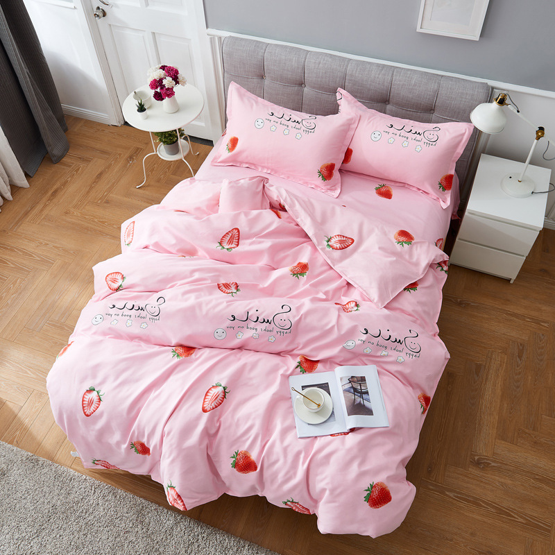 Claroom Pink Strawberry Bed Linens Bedding Sets Nordic Style Duvet Cover Set Quilt Cover Queen King Size TY74#
