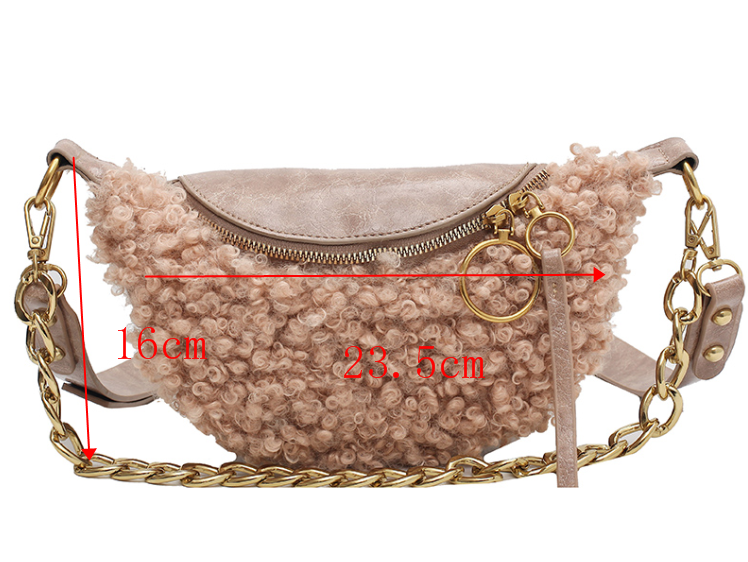 [BXX] Soft Faux Fur Handbags and Purses For Women 2020 Winter Solid Color Chest Waist Bag Ladies Travel Crossbody Bag HP312