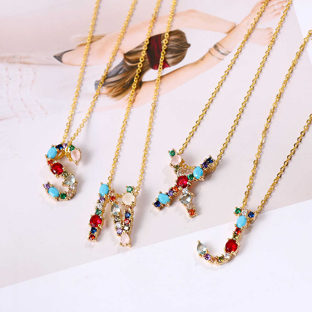 1PC 26 Alphabet Letters Crystal Necklace Initial Multicolor Personalized Letter Name Jewelry Accessories For Girlfriend Gift