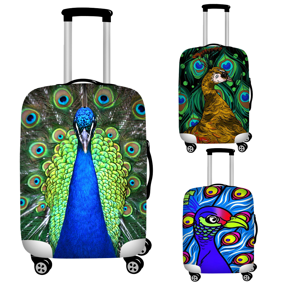 Twoheartsgirl 3d Peacock Luggage Dust Cover For Trunk Case Apply To 18''-32'' Suitcase Cover Waterproof Protection Baggage Cover