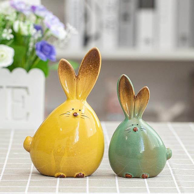 2PC Combination Nordic Style Cute Long Ear Rabbit Ceramic Decoration Cartoon Animals Figurines Ornaments Unique Home Decoration 1
