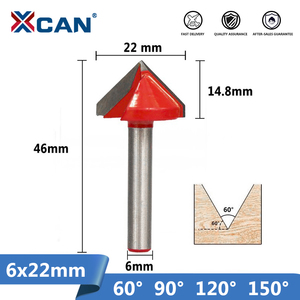 XCAN 1pc 6x22mm 60/90/120/150 Degrees V shape Milling Cutter CNC Engraving Bits Wood Router Bits Wood Milling Trimming 3D Cutter