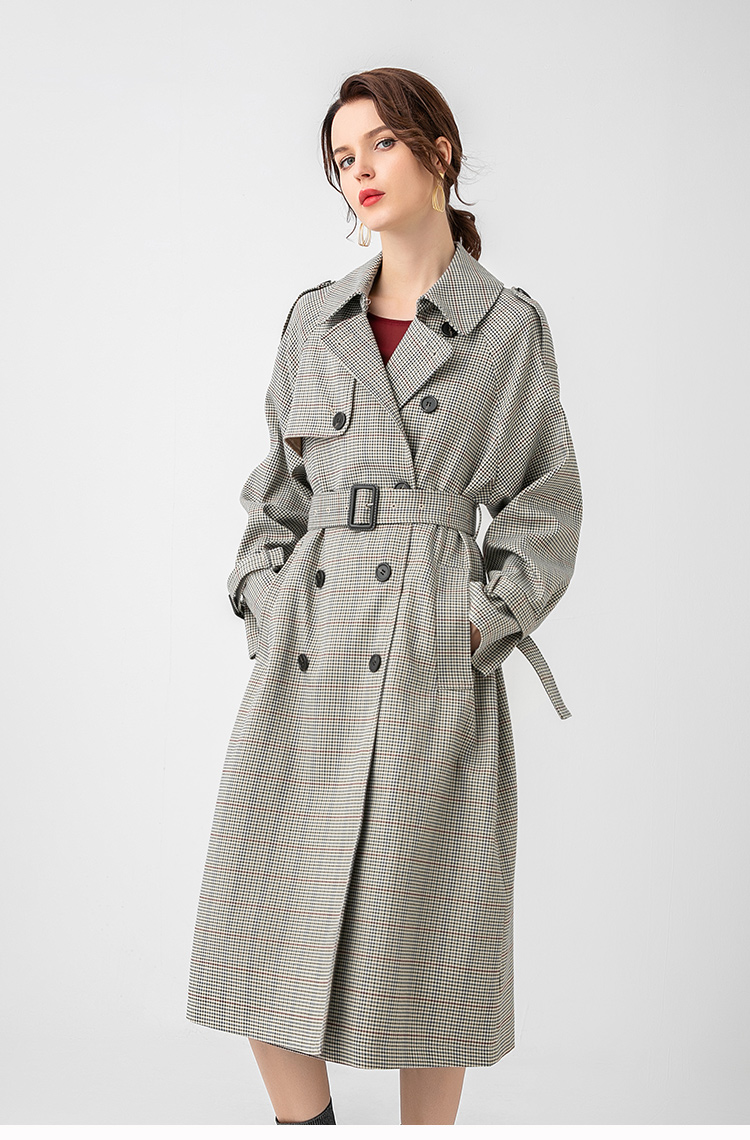 H6391c31cbf394a26a69a04cdce34fa750 Net red houndstooth plaid windbreaker jacket female spring and autumn Korean style mid-length popular double-breasted coat trend