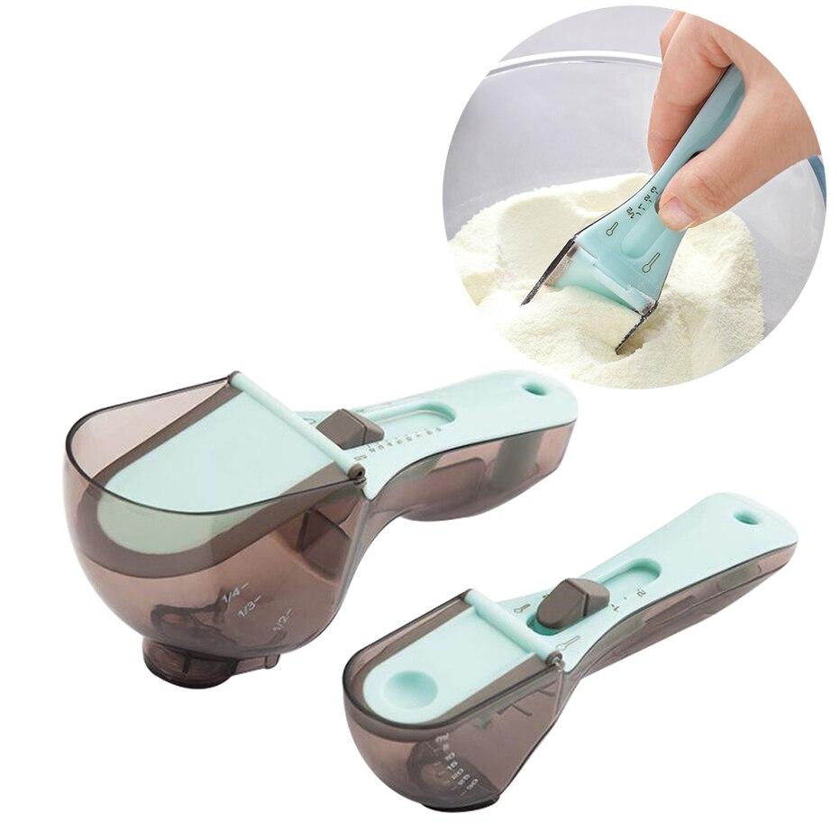 Регулируемая мерная ложка, пластиковая ложка для молока, приправ, муки со шкалой, кухонные мерные чашки