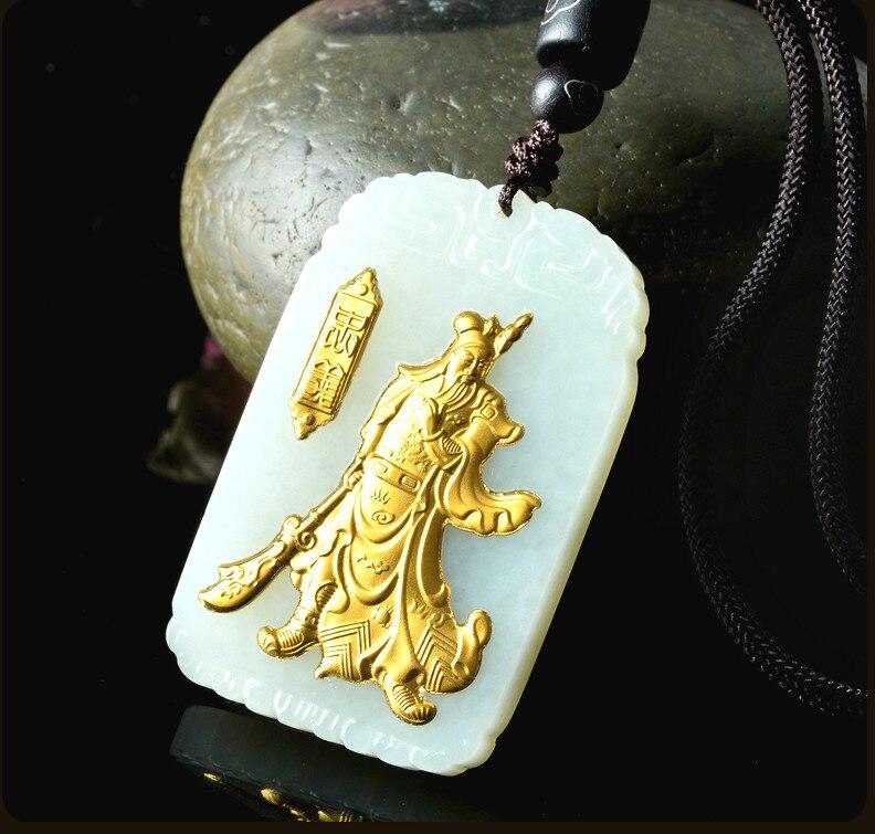 Naturel chinois Hetian blanc Jade mosaïque or pendentif Guan Yu beau bijoux collier sculpté mode pour hommes amulette cadeaux - 4
