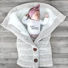 Blanket Wrap Swaddling Stroller Sleeping-Bags Button-Knit Warm Infant Toddler Newborn-Baby