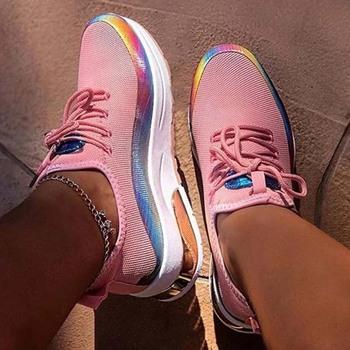 Kobieta Vulcanize buty damskie sneakersy grube dno sznurowane platformy trampki damskie jesienne obuwie tenisowe buty damskie tanie i dobre opinie HAJINK Cekinami tkaniny Bling Mieszane kolory RUBBER Wiosna jesień Med (3 cm-5 cm) Lace-up Pasuje prawda na wymiar weź swój normalny rozmiar