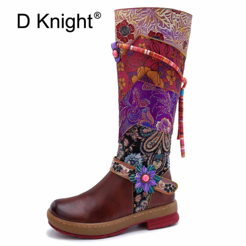 New product retro handmade leather women/'s boots top layer cowhide mid-heel knight boots