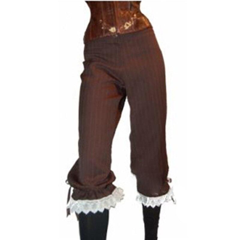 Women Pants Ladies Gothic Trouser Cosplay High Waist Retro Fashion Renaissance Steampunk Vintage Pants Lace Floral