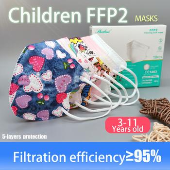 Fit 3-11 lat 10-200 sztuk 5 warstw FFP2 Kid Mascarillas KN95 dzieci maska CE EN149 Anti-fog doba ochrona usta Respirator tanie i dobre opinie IMDK Z Chin Kontynentalnych COMBO osobiste jednorazowe Non-woven EN 149-2001 + A1-2009 10PCS BOX Maski