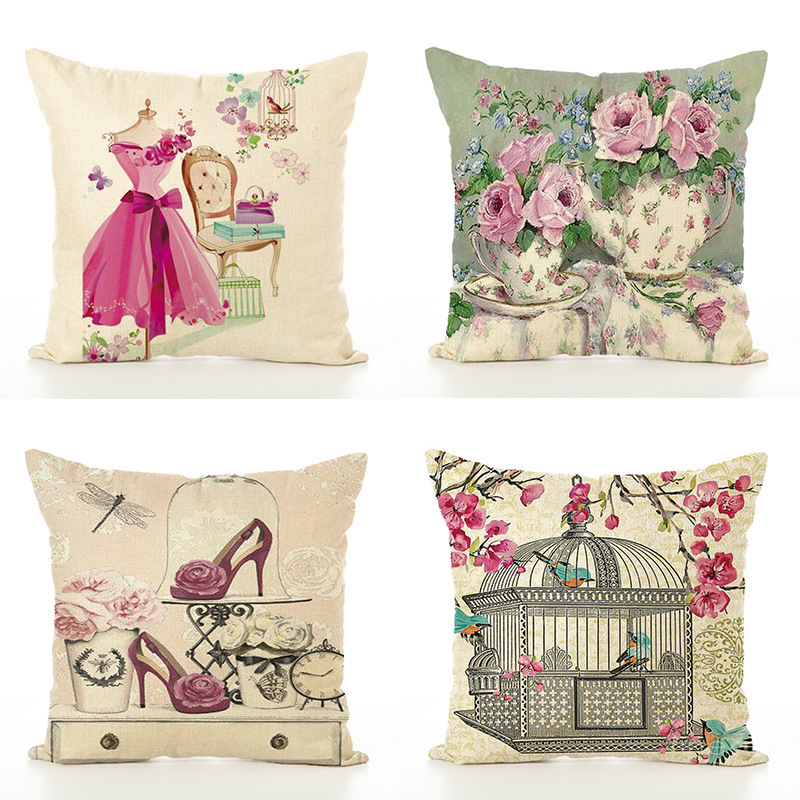 Classical Flower Flax Cushion Pillow Case Automobile Waist By Home Furnishing Soft Decoration