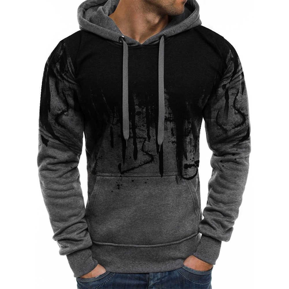 แฟชั่นผู้ชายHoodiesแขนยาวHooded Sweatshirt TOP