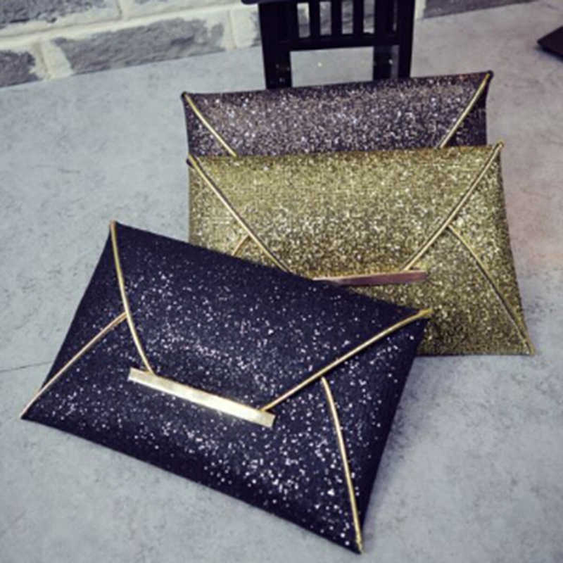 Women Wallet Gold Envelope Design Wallet Sparkle Bling Day Clutch Bags Evening Party Wallets Sequin Glitter Bags Femme