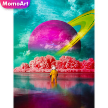 MomoArt 5D Diamond Painting Outer Space Full Drill Square Rhinestone Embroidery Scenic Cross Stitch Handwork Weeding Decoration