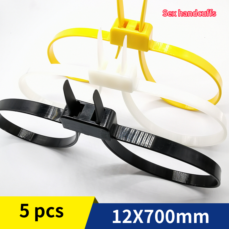5Pcs/Lot 12mmx700mm 12x700 12*700 Plastic Police Handcuffs Double Flex Cuff Disposable Handcuffs Zip Tie Nylon Cable Ties