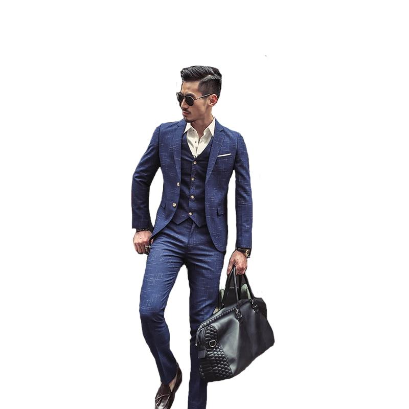 2020 New Fashion Boutique Men's Plaid Formal Business Suit 3 Piece Set / Men's High-end Casual Suits( Jacket + Vest + Pants )