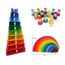Wooden Rainbow Blocks Wood Stacking Toys Grimms Rainbow Wood Building Blocks Colorful Rainbow kids Montessori Educational Toy