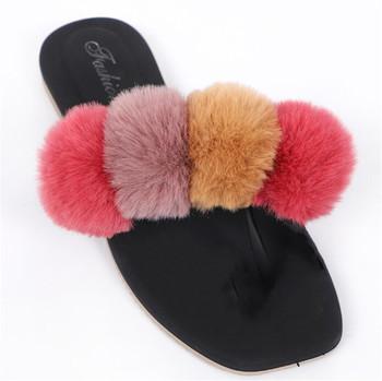 Letnie kapcie damskie futra królika slajdy Furry Pom Pom sandały futrzane klapki tęczowe futrzane buty projektant buty do podróży dziewczyna slajdy tanie i dobre opinie ZMPDXY Mieszkanie (≤1cm) Wsuwane Futro CN (pochodzenie) Lato Indoor Płaskie z LEISURE Dobrze pasuje do rozmiaru wybierz swój normalny rozmiar