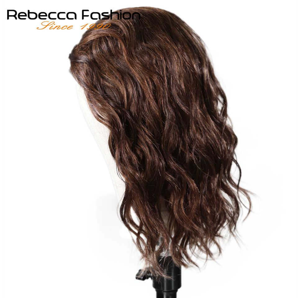 Rebecca натуральные волнистые человеческие волосы, кружевные парики для черных женщин, перуанские волосы Remy, влажные и волнистые, L часть, кружевной парик, 14 дюймов, бесплатная доставка