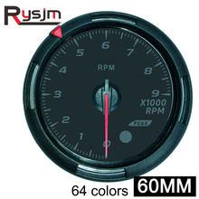 Tacómetro de 60MM para barco medidor de 0 ~ 9000 rpm, temperatura del agua al vacío, medidor de presión de aceite, temperatura de aceite, 64 colores para coche, camión y motocicleta