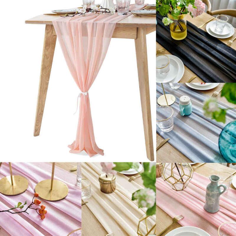 시 폰 레이스 꽃 테이블 천으로 결혼식 연회 파티 러너 식탁보 홈 장식 식탁 커버 30x305cm