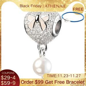 Image 1 - ATHENAIE 925 srebro z różową kokardką wkładka CZ serce delikatny róż emalia z muszlą wisiorek z koralików krople koralik Charms