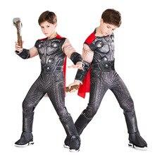 Bambini Marvel Comic Superhero Il Dio Del Tuono Thor di Halloween Cosplay Carnevale Ragazzi Muscle Costume