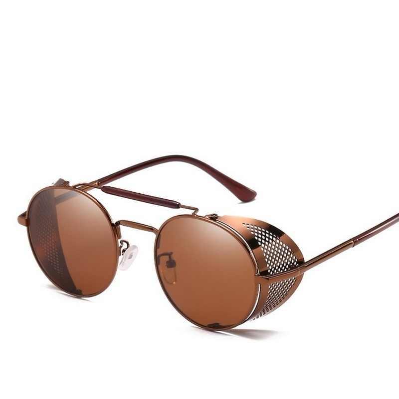 VINTAGE รอบกระจกสะท้อนแสง Steampunk ดวงอาทิตย์แว่นตาออกแบบแบรนด์ผู้หญิงผู้ชาย Punk แว่นตากันแดด Oculos Eyeglases Gothic