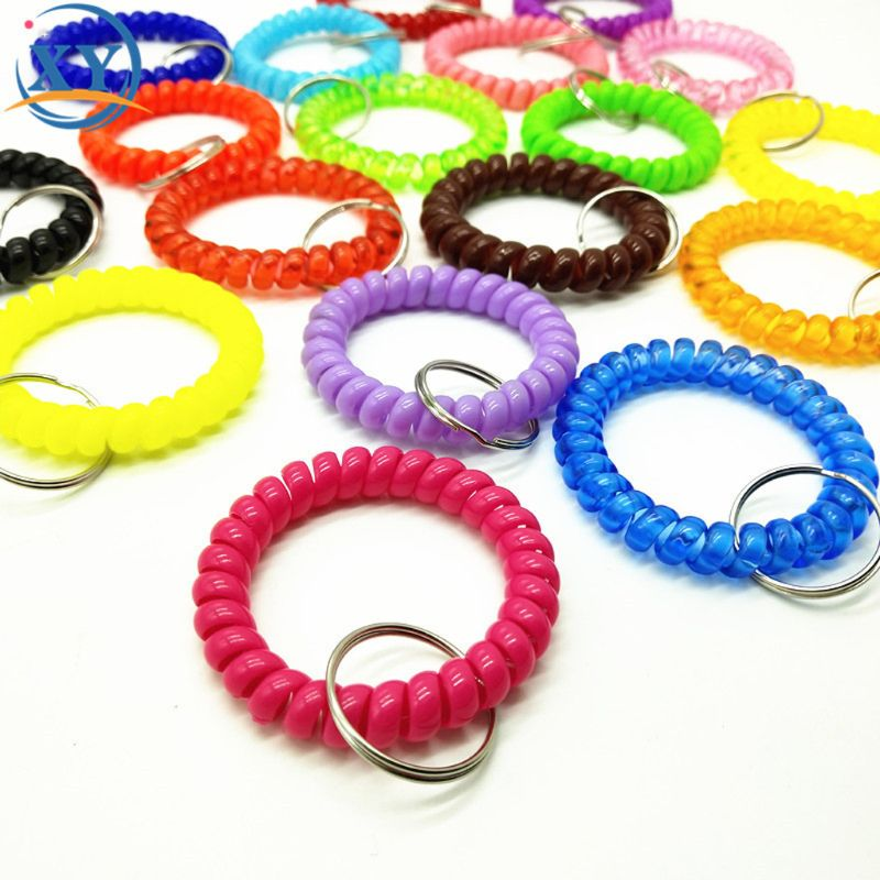 5Pcs Mixed Wrist <font><b>Coil</b></font> Keychains Stretch Wristband Key Ring For Gym Pool <font><b>ID</b></font> Badge image