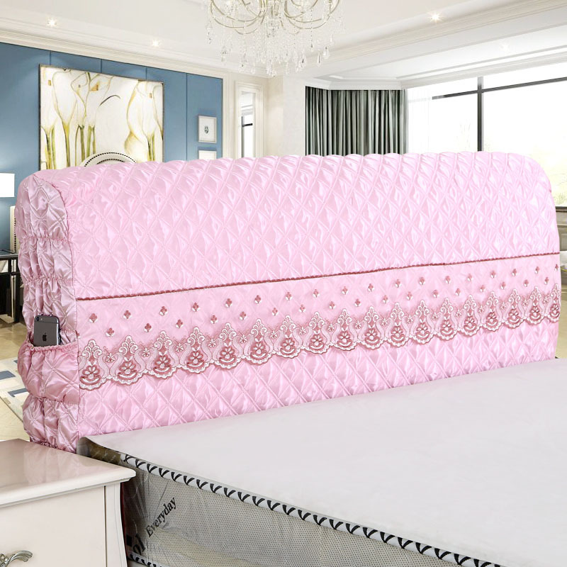 Silk-like Deluxe Edition Headrest Lace Bed Headboard Cover Bedspread Size 120/150/180/220/230x55cm Bedside Cover