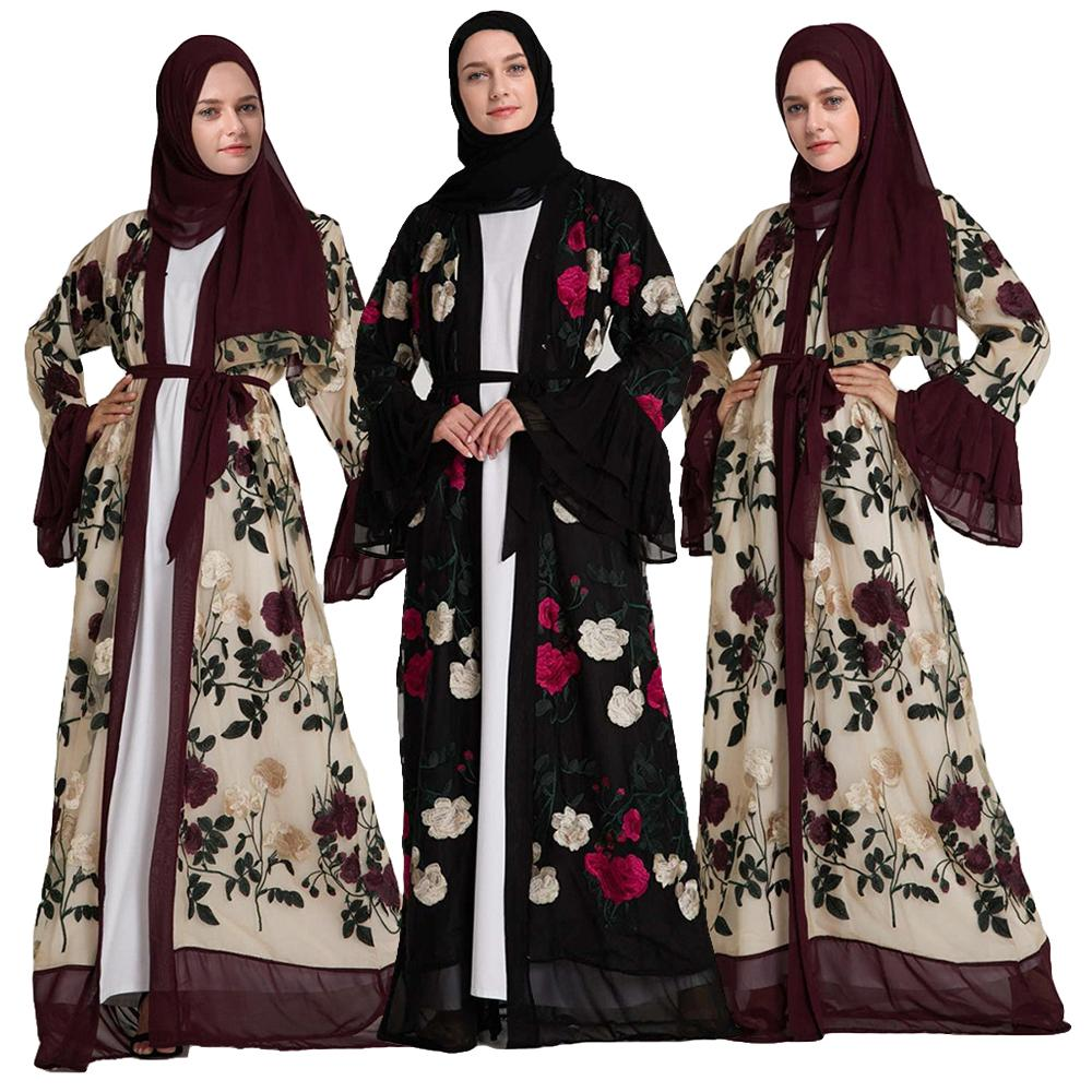 Floral Womens Dress Abaya Muslim Ladies Long Sleeve Open Front Long Dresses Robe