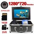Cámara Erchang DVR para pesca 12 Uds Lámpara de infrarrojos + 12 Uds lámpara blanca 7 pulgadas HD 1280*720 Monitor 15m Cable con tarjeta SD 16g