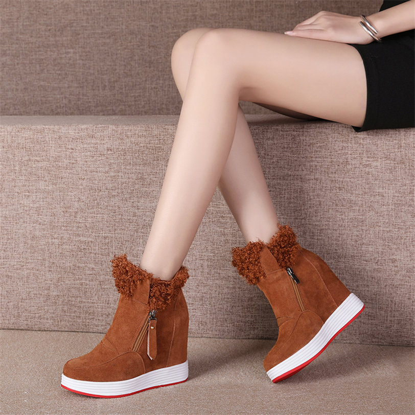Trainers Shoes Women Cow Suede Leather Wedges High Heel Ankle Boots High Top Rabbit Fur Platform Pumps Winter Punk Creepers Size in Ankle Boots from Shoes