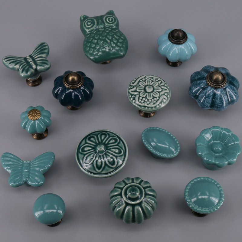 1PCS Ceramic Art Style Handles and Knobs Children Room Drawer Dresser handle Door Pulls Furniture Hardware