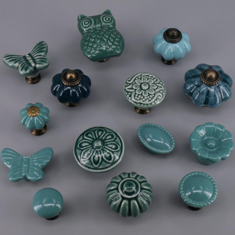1PCS Ceramic Art Style Handles And Knobs Children Room Drawer Dresser Handle Door Pulls Furniture Hardware
