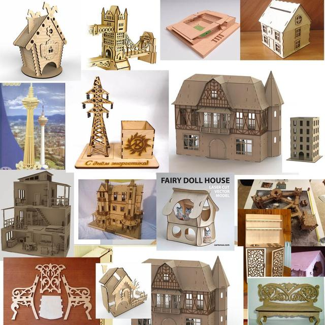 227 house building and upholstered furniture 2d vector files dxf cdr ai format files for CNC laser cutting