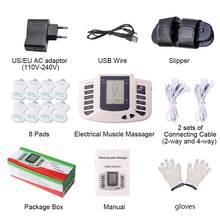 十電気的筋肉刺激ロシアボタン筋肉パルス鍼療法スリッパ + 8 パッド + ボックス + 手袋
