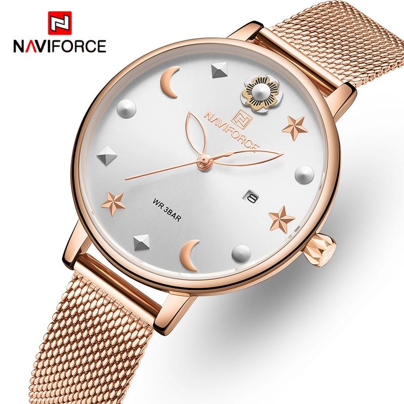 NAVIFORCE Women Watch Rose Gold Quartz Ladies Watches Stainless Steel Waterproof Women        s Wristwatch Girl Clock Relogio Feminino
